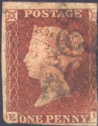1841 1d Red SG7 Plate 2 'EH'